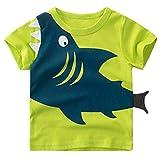 Tecrok Little Boys Short Sleeve Shark Tee Cotton Toddler Kids Casual T-Shirt for Age 1-8 Years