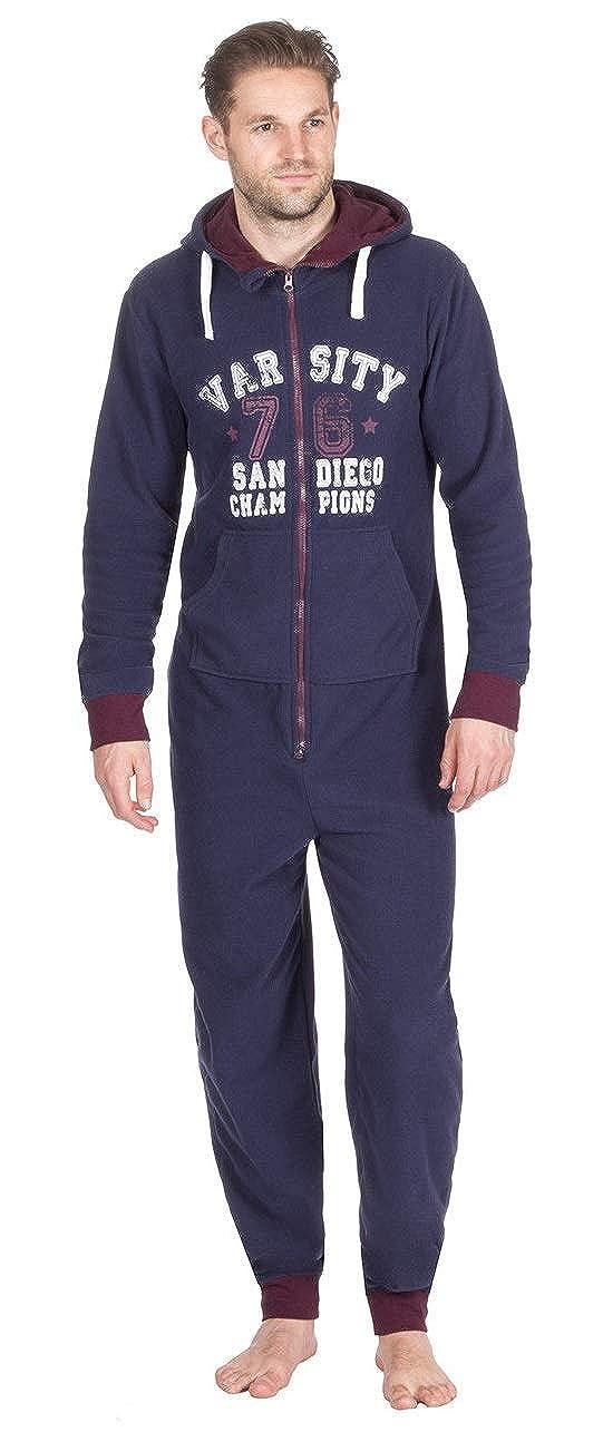Mega_Jumble® Onesies Comfy Nightwear Men's Microfleece Varsity Print Hooded All in One -Versity California, York, San Diego Champions- UK Mens