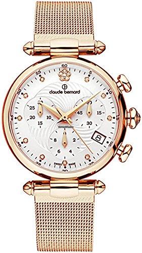 Claude Bernard Women's 10216 37R APR2 Dress Code Chronograph Analog Display Swiss Quartz Rose Gold Watch