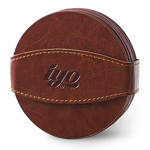 Leather Drink Coasters Set with Strap (6-Pack) Decorative Table, Home, Bar, Kitchen or Dining Cup Holders - At Pictures Beach Broadway The