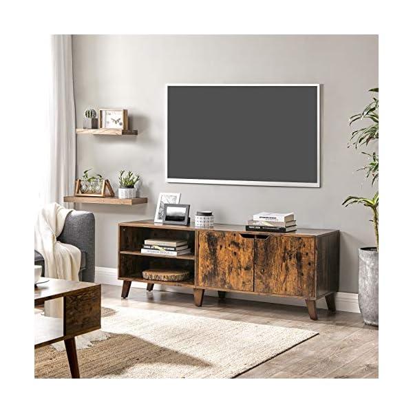 VASAGLE Meuble TV 2 Portes, Support télé avec étagères réglables, pour télévisions 60 Pouces, Salon, Salle à Manger…