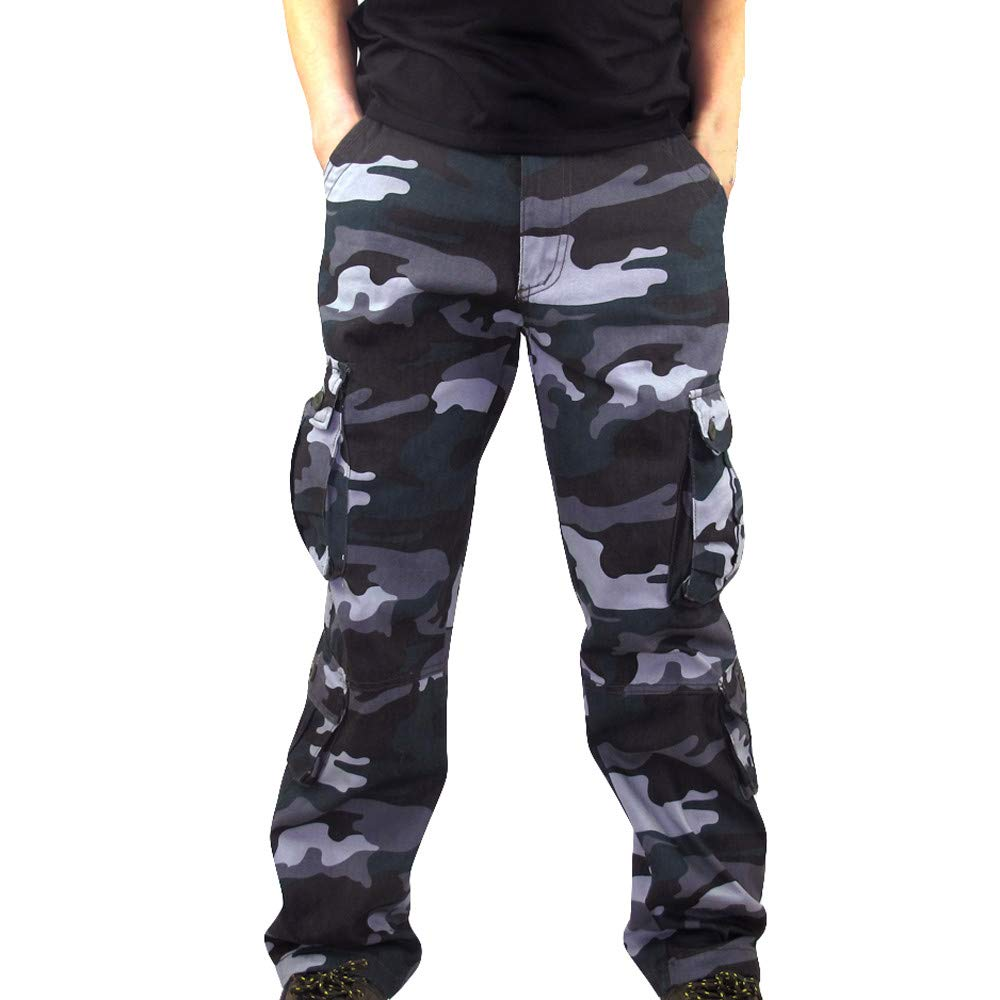 5f49a6ff039 Teresamoon Men Camouflage Pocket Overalls Casual Pocket Sport Work Casual  Trouser Pants Teresamoon-Pants ...