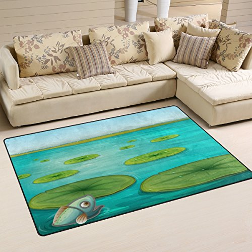 DEYYA Lily Pads Area Rug Carpet Non-Slip Floor Mat Doormats for Living Room Bedroom 60 x 39 inches (Area Pad Rug Lily)