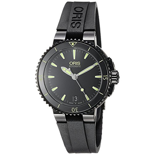 Oris Women's 'Aquis' Swiss Stainless Steel and Rubber Automatic Watch, Color:Black (Model: 73376524722RS)