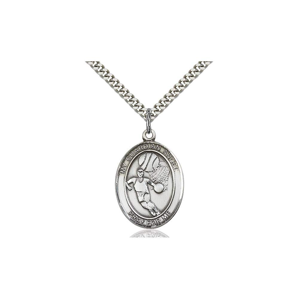 DiamondJewelryNY Sterling Silver Guardian Angel//Basketball Pendant