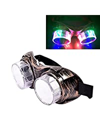 Luwint LED Flashing Glasses Steampunk Goggles - Colorful Light up Party Favors for Birthday Rave (Bronze)