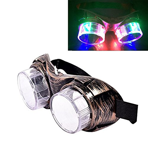 Luwint LED Colorful Flashing Glasses Steampunk Goggles - Light Up Party Favors for Christmas Birthday Rave - Prescription Frames Steampunk