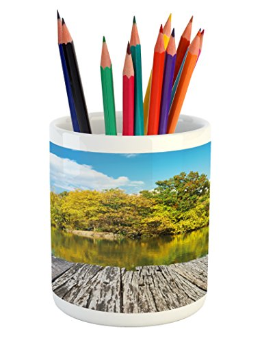 (Lunarable Landscape Pencil Pen Holder, New York City Central Park in a Autumn Day Near a Bay with River, Printed Ceramic Pencil Pen Holder for Desk Office Accessory, Sky Blue Green and Cocoa)