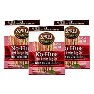 Earth Animal No-Hide Grass-Fed Beef Stix Natural Rawhide Alternative Dog & Cat Chews, 3 10-Count Bags