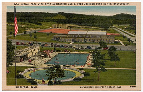 Linen Postcard Legion Pool, Civic Auditorium Park Kingsport, (Legion Pool)