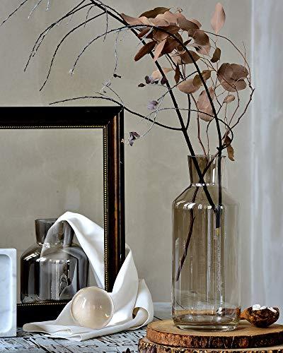 Glass Contemporary Vases - Cyl Home Vases Bottle Shape Optic Bronze Color Glass Flower Arrangement Table Centerpieces Modern Contemporary Dining Living Room Art Decor Accent Gift Vase,13.8'' H x 4.7'' D