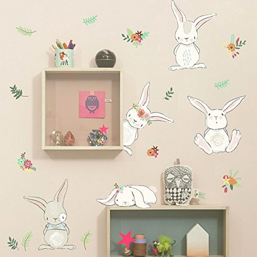 Dragon Honor Cartoon Baby Bunny Rabbit Wall Sticker Cute Animals Children Room Nursery Mural Wall - Bunny Rabbit Stickers