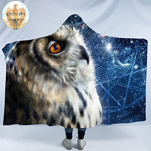 Blanket Fleece Traveler - Sleepwish Time Traveler Owl by Khalia Art Owl Hooded Blanket Star Trails Owl Fleece Blanket Blue Galaxy Plush Wearable Hooded Blanket for Adult Kids (60