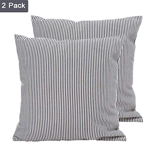 (Hoplee Ticking Stripe Pillow Cover Black Stripe Decorative Pillow Covers Set of 2)