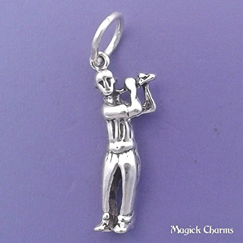 Sterling Silver 3-D Male GOLFER Charm Golf Pendant - lp1331 Jewelry Making Supply Pendant Bracelet DIY Crafting by Wholesale Charms]()