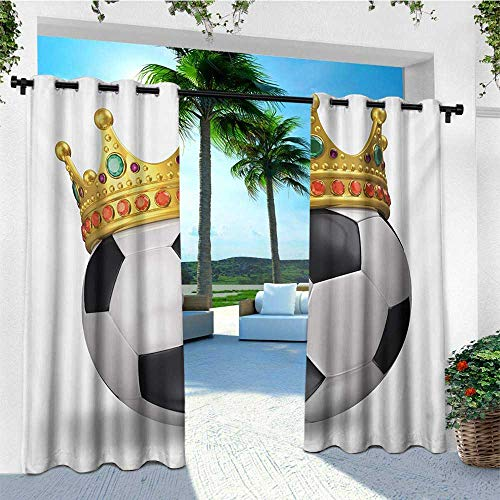 - leinuoyi King, Outdoor Curtain Extra Long, Football Soccer Sports Championship Inspired Ball Crown with Ornaments Image Print, Fashions Drape W120 x L108 Inch Multicolor