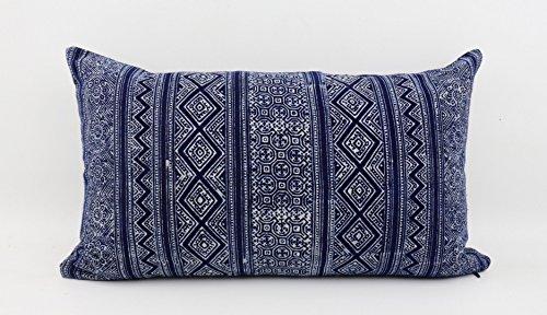 Sense Supply Indigo Tribal Lumbar Pillow Cover made from Hmong Hand Block Batik Cotton - Hand Fabric Dyed Batik