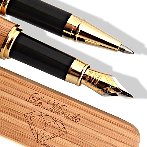 Le Miracle Handcrafted Bamboo Fountain & Rollerball Pen Set | Designed In Paris | Luxury Set with Elegant Eco Friendly Bamboo Case | Calligraphy | French Elegance- German precision |