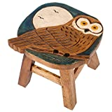 Owl Design Hand Carved Acacia Hardwood Decorative Short Stool