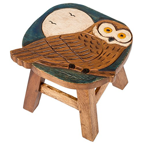 Owl Design Hand Carved Acacia Hardwood Decorative Short Stool by Sea Island Imports