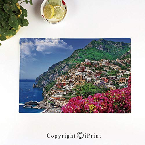 LIFEDZYLJH Linen Place Mats,Washable Fabric Placemats for Dining Room Kitchen Table Decor,Set of 4,Scenic View of Positano Amalfi Naples Blooming Flowers Coastal Village Image,Pink Green Blue