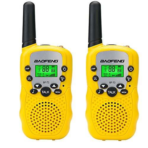 Ammiy BaoFeng BF-T3 Kids Walkie Talkie 22 Channel FRS/GMRS UHF Long Range Two Way Radio (2 pack of radios) Yellow (Gmrs Frs Scanner)