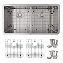 32 inch Undermount 50/50 Low Bowl Divider Kitchen Sink, 16 Gauge Stainless Steel, 10mm Radius Corners, Luxury Basket Strainers and Bottom Grids, S-321XG
