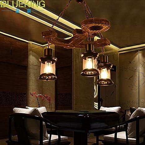 Araña Iluminación Colgante Luz Lámpara Balcón Decoración Cadena Ligera Barco Antiguo Ancla De Madera Restaurante ...