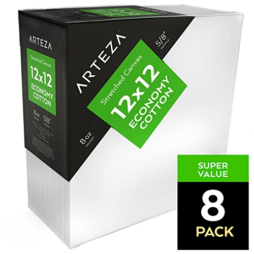 Arteza Blank Pre Stretched Canvas for Painting, 12x12