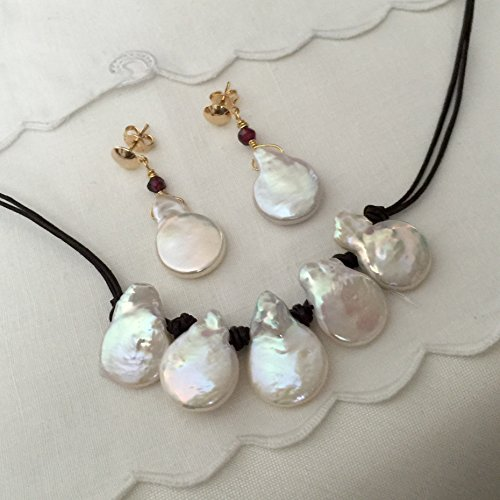 hwater Baroque Button Pearls Set. Hand Knotted Leather Necklace. Macrame Necklace. Freshwater White 16mm Button Pearls Set. (Natural Baroque Freshwater Pearl)