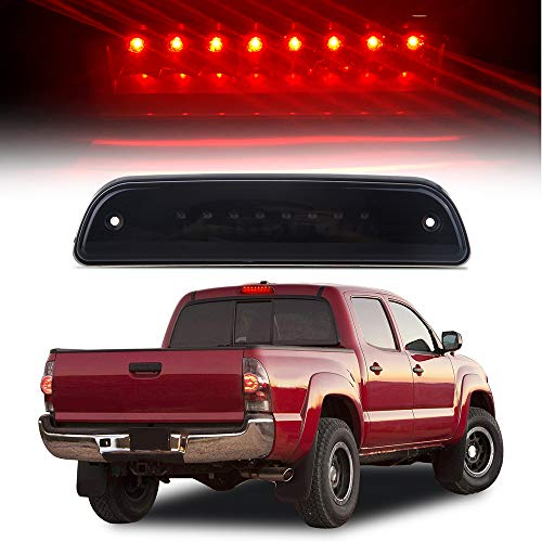High Mount Stop Lights LED 3rd Red Brake Tail Light Replacement fit for 1995-2016 Toyota Tacoma Truck (Black) - Light Smoked Brake 3rd