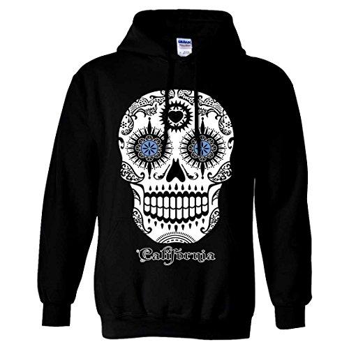 Male Sugar Skull Face Paint (California Republic Sugar Skull Sweatshirt Hoodie - Black)