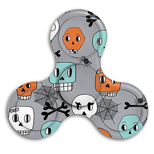 CRSJBB219 Skulls Halloween Orange Mint Grey Spider Spiderwebs Fidget Spinner Tri-Spinner High Speed Spin ADHD Anxiety and Autism Adult Children