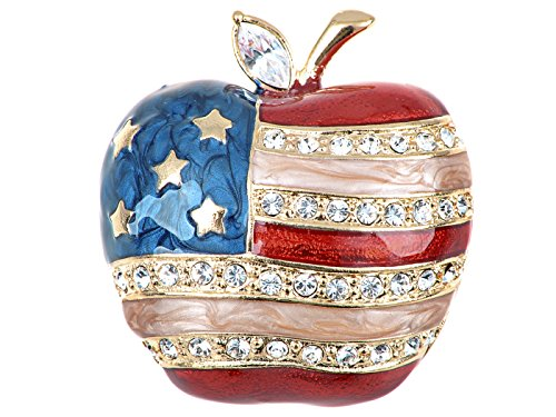 Alilang Silver Tone Crystal Rhinestone 4th of July American USA Flag Patriotic Pin Brooch, Big Apple