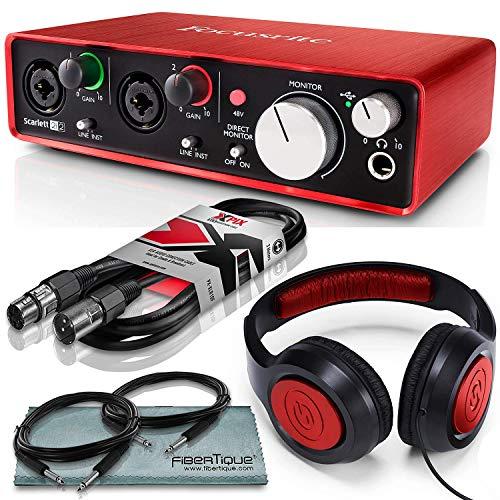Focusrite Scarlett 2i2 (2nd Gen) USB Audio Interface W/ Cables + Samson Headphone and FiberTique Cleaning Cloth