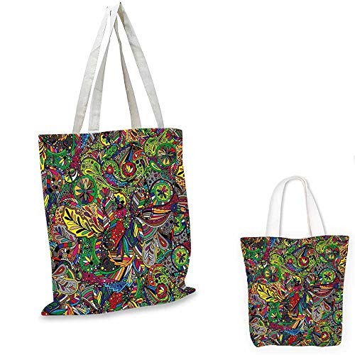 4fbfdafcf doodle tote hello kitty. Colorful canvas messenger bag Funky Curly Detailed  Ethnic Doodles Tangled Trippy Pyschedelic Botanical Nature foldable shopping
