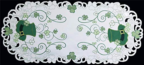 Shamrock Table Runner - Creative Linens St. Patrick's Day Table Linens, Spring Embroidered Shamrocks and Leprechaun Hats Placemats, Table Runners, Tablecloths, White Green (15x34 Oval Table Runner)