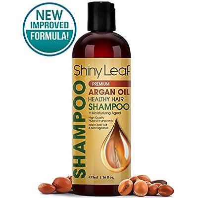 Shiny Leaf Argan Oil Healthy Hair Shampoo – Premium Anti Hair Loss Shampoo Treatment With Argan Oil, Thickens, Strengthens All Hair Types, Leaves Hair Smooth, Huge 16 oz (473 ml) Bottle
