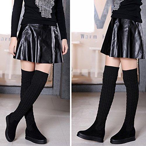 KPHY-Los estudiantes Calcetines Calzado Mujer Mujer Mujer Otoño e Invierno ayuda alta nueva IMITACIÓN CUERO más cálida de terciopelo botas de mujeres a través de la rodilla botas largas hilo de tejer 35 negro aa5ffb
