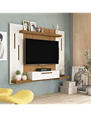 Artely Cronos Wall Panel for 50 inch TV, Off White with Freijó Brown, W 160 x D 24.5 x H 125 cm