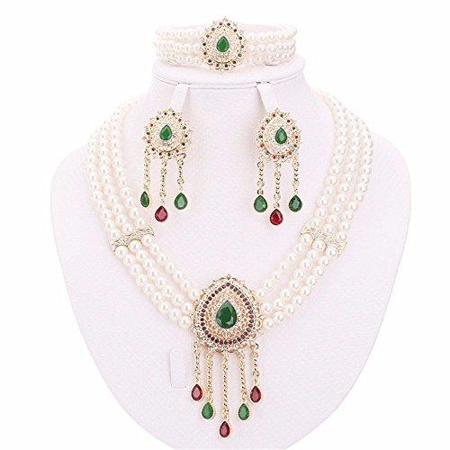 Green Zircon Necklace - Moochi 18K Gold Plated Simulated Pearl Green Oval Zircon Necklace Jewelry Set