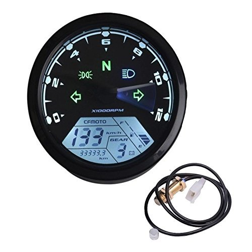 (Ambuker 199 KMH MPH 12000 rpm LCD Digital Speedometer Tachometer Odometer kmh for Honda Motorcycle Sctoor Golf Carts ATV)