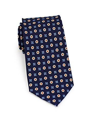 Bows-N-Ties Men's Necktie Floral Foulard Print Silk Satin Tie 3.1 Inches (Navy, Orange, (Blue Cream Mens Satin)