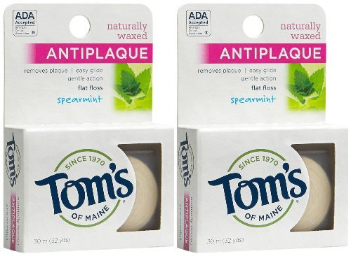 (Tom's of Maine Natural Waxed Antiplaque Flat Floss, Spearmint, 32-Yards, Pack of 2)