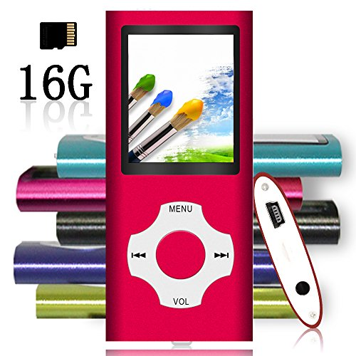 Tomameri – Portable MP3 / MP4 Player with Rhombic Button, Including a 16 GB Micro SD Card and Support Up to 32GB, Compact Music, Video Player, Photo Viewer, Video and Voice Recorder Supported -Red