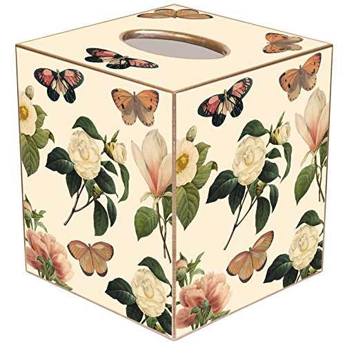 Floral 1 on Ivory Paper Mache Tissue Box Cover