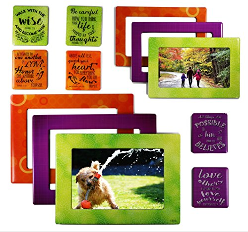 Sheen Faith - Magnetic Picture Frames and Refrigerator Magnets (12 Piece) with Bible Quotes Photo Collage ()