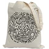 Bags For Kids To Colour In. Printed Outline - Kids Craft I love Music Design- Fabric Pens sold separately