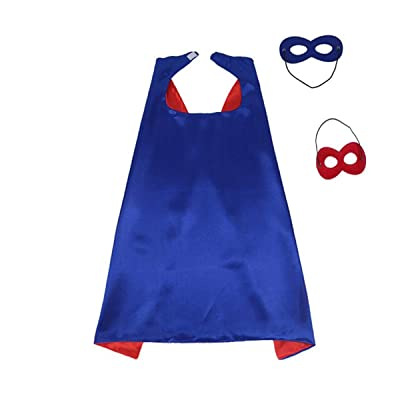 Beacone Hero Capes and Mask for Kids Role Playing Halloween Costumes Birthday Party Dress up (Blue Red): Clothing
