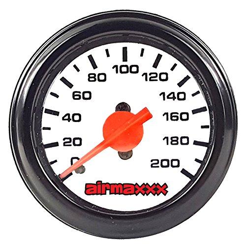 airmaxxx Single Needle Air Suspension Gauge White 200psi
